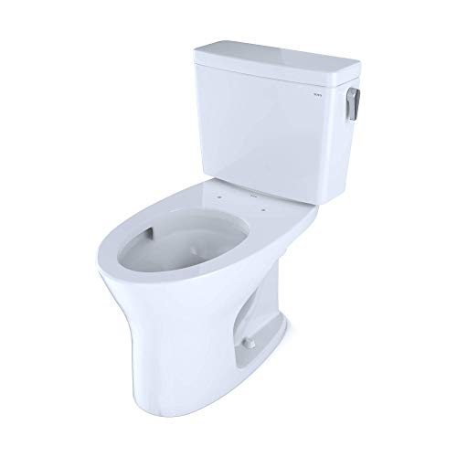 TOTO CST746CEMFRG.10#01 Drake Two-Piece Elongated Dual Flush 1.28 and 0.8 GPF Universal Height DYNAMAX TORNADO FLUSH Toilet for 10 Inch Rough-In with CEFIONTECT and Right-Hand Trip Lever, Cotton White