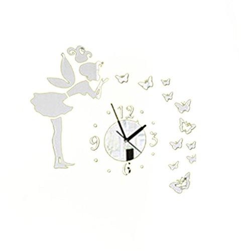 LUFA DIY 3D mariposas hadas chica pared pegatina espejo pared relojes oficina decoración del hogar