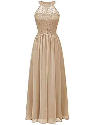 Wedtrend Halter Floral Lace Long Chiffon Wedding Bridesmaid Dress Cocktail Party Gown WT0201ChampagneM