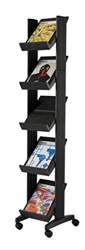 Snel papier Literatuur Display Hoek Mobile 5 Planken 35mm Lip W350xD382xH1650mm Zwart Ref 259.01