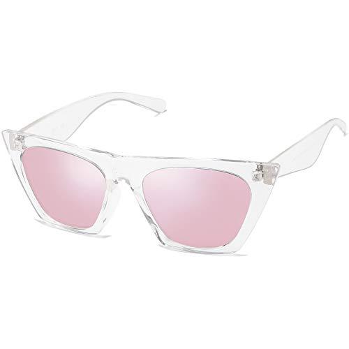 SOJOS Retro Square Cateye Gafas de sol polarizadas para mujer estilo de moda BELLA SJ2115