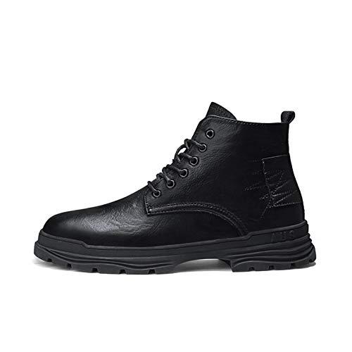 Zapatos casuales Botas altas de punta redonda de los hombres, encajeado cepillado empalme a cepillado grifo cepillado, suela de goma de cuero artificial (Color : Black, Size : 41 EU)