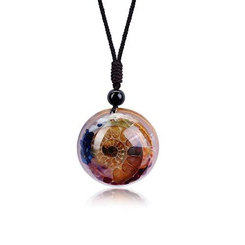 Finrezio 7 Chakra Natural Healing Necklace for Women Men Crystal Quarz Stone Pendant Necklace with Ammonite Resin