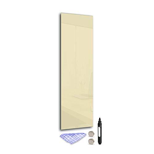 DekoGlas Magnettafel 'Beige' aus Glas 120x40cm, Memoboard inkl. Stift, Tuch & Magnet, Metall-Pinnwand für Küche & Büro