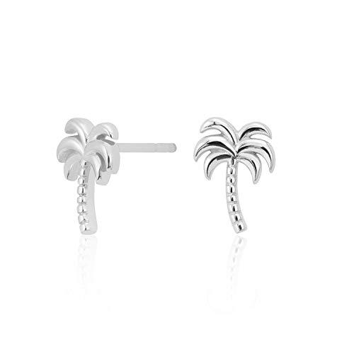 Scream Pretty - 925 Sterling Silver Palm Tree Stud Earrings