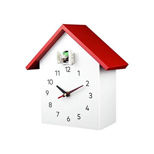 hufeng Reloj de pared de cuco, de cuarzo, diseño de pájaros, moderno, para colgar en el hogar, sala de estar, color rojo