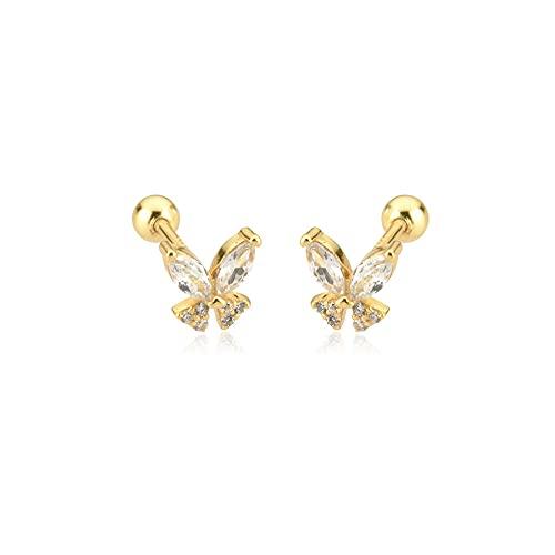 Pendiente de plata de ley 925 dorado brillante con forma de mariposa, pendiente de palo para mujer, Clips de boda Rock Punk, accesorios de fiesta, oro transparente