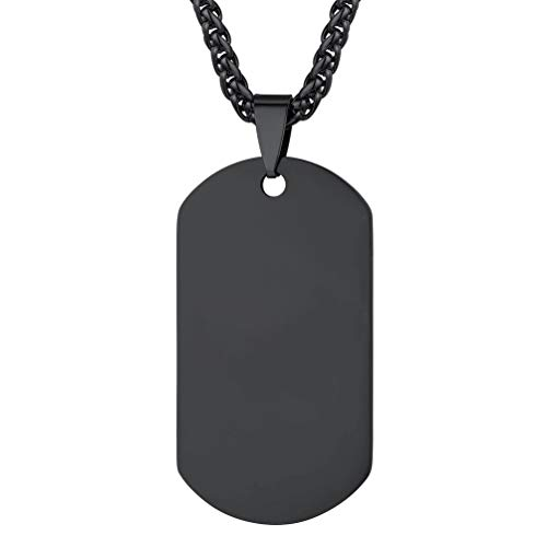 PROSTEEL Mens Military Army Style 316L Blank Stainless Steel Dog Tags Chain Mens Pendant Necklace Jewelry Black