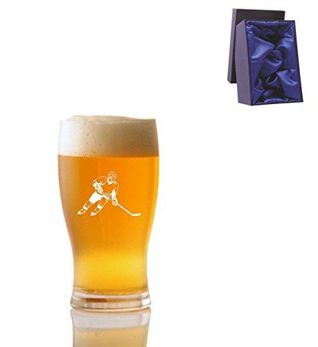 1 Pint Tulp Bierglas met IJshockey Speler Ontwerp en Luxe Presentatie Box