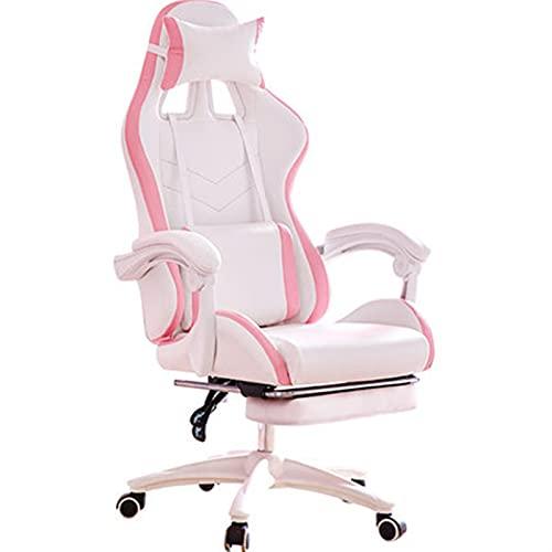 Silla de juego chica linda silla reclinable sillón con silla de reposapiés muebles de oficina silla rosa gamer chica silla (Color : Gray)