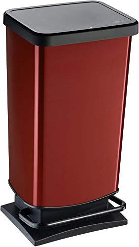 Rotho Paso, Cubo de basura de 40l con pedal y tapa, Plástico PP sin BPA, rojo metálico, 40l 35.3 x 29.5 x 67.6 cm