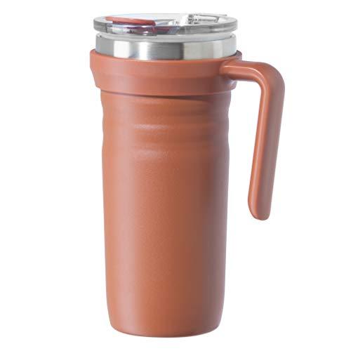 OGGI Ripple Stainless Steel Travel Mug- Travel Bottles, Insulated Coffee Mug, Travel Mug with Handle and Lid, 19oz, Brick