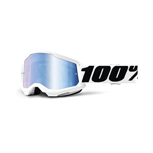100% Strata 2 Motocross & Mountain Biking Goggles (Everest - Mirror Blue Lens) MX and Mountain Bike Racing Protective Eyewear