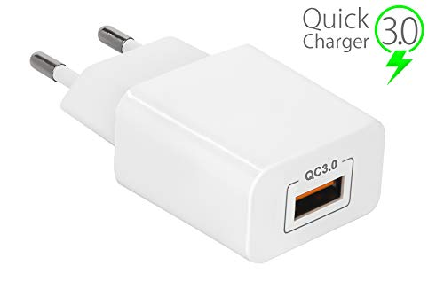 MyGadget Enchufe de Pared Quick Charge (QC 3.0) 18W - Cargador Rapido Universal para Apple iPhone X XS MAX Samsung Galaxy S9 S10 Edge Huawei - Blanco