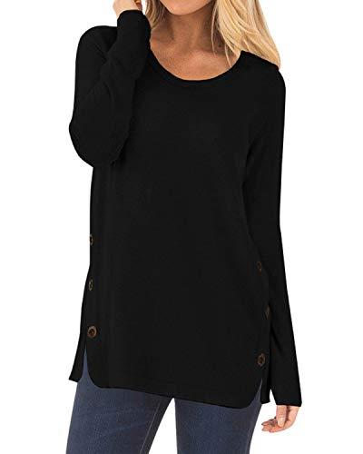 CYiNu Women Casual Long Sleeve Tops Loose Fall Pullover Tunic Shirts Blouses(Black,XL)