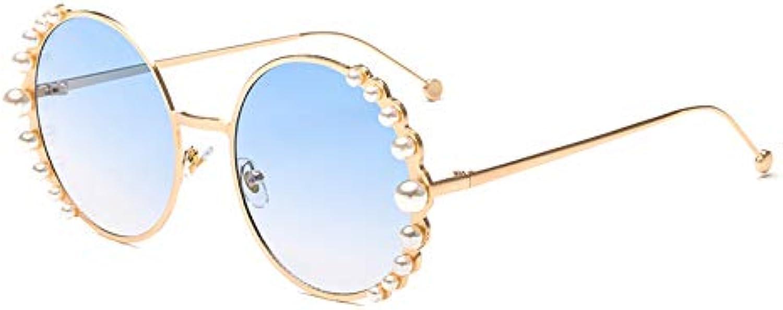 CQYYDD Luxury damen Pearl Sonnenbrille Uv400 Runde Metallrahmen Mode Kreis Sonnenbrille Für Frauen Verlaufsglas