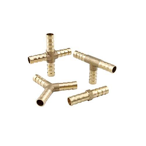 Lcuilin-Montaje de tuberías de hardware Barb 6/8 / 10/12 mm de cobre adaptador 2 3 4 Way Manguera de púas Joint acoplador, Brass Barb de tubo roscado, Duradero ( Color : Y Type , Size : 19mm Barb )