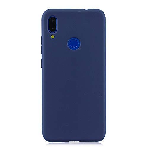 cuzz Funda para Xiaomi Redmi Note 7+{Protector de Pantalla de Vidrio Templado} Carcasa Silicona Suave Gel Rasguño y Resistente Teléfono Móvil Cover-Azul Oscuro