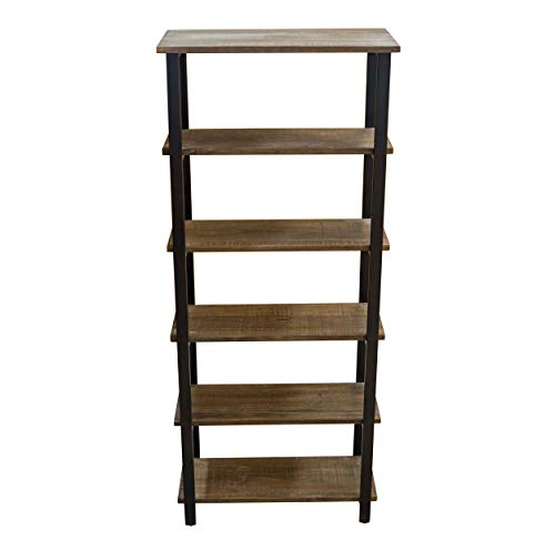 Alaterre Furniture Sonoma 70' Tall 5-Shelf Metal and Solid Wood Bookcase, Brown
