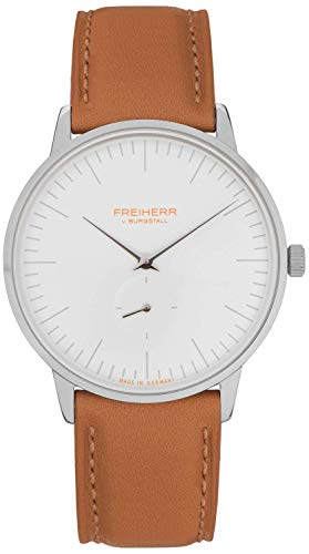 Freiherr Frankfurt Quartz Watch with Leather Wriststrap - Men & Women - Light Brown/White