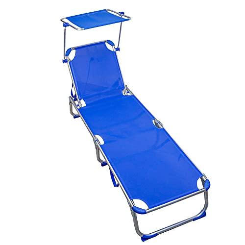 Arcoiris Tumbona Aluminio, Tumbona Reclinable con Respaldo y Parasol Reclinables, 4 Posiciones, Plegable, Ligera,Carga 150 kg, para Jardín (Pack 1, Azul)