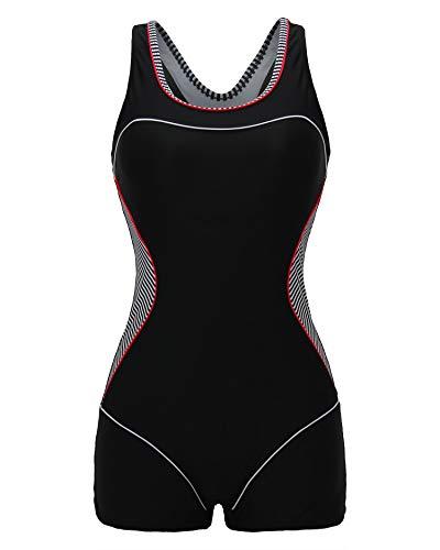 ReliBeauty Women's Boy-Leg One Piece Swimsuit, Black-1, XS 0-2