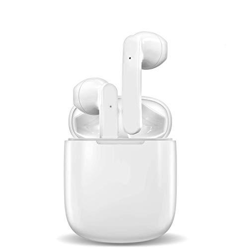 Auricolari Bluetooth 5.0 Suono Stereo 3D Cancellazione del Rumore Touch Control IPX7 Impermeabili Cuffie Senza Fili per Sport e Gioia Pop-Ups Auto Pairing Mini Bianco