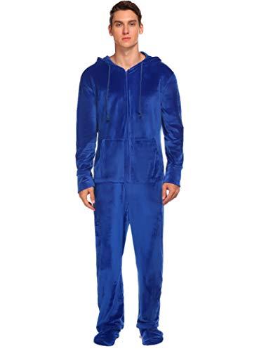 Ekouaer Adult One-Piece Foot Pajamas Mens Onesies Sleepwear with Zipper and Hood