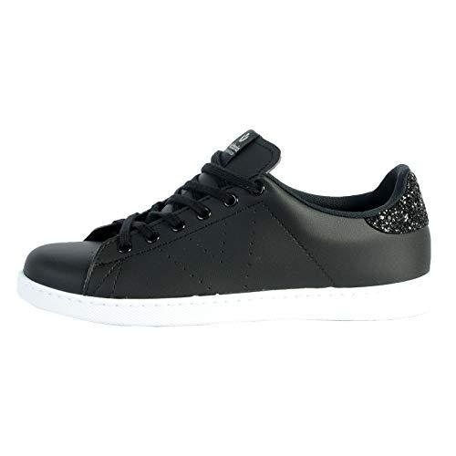 victoria Unisex-Erwachsene Tenis Piel Vegana Glitter Negro Sneaker, Schwarz, 41 EU