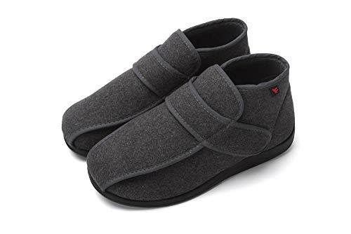 Cxypeng Unisex - Erwachsene Gesundheits-Schuh,High-Top verbreiterte Plüsch Schuhe mit Zuckerkrankheit, Daumen Valgus deformiert Füße-grau_48,Hausschuhe Klettschuhe Senioren