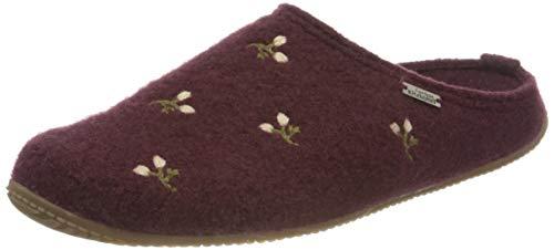 Living Kitzbühel Damen Pantoffel Blumenstickerei mit Fußbett Hausschuh, Merlot, 39 EU