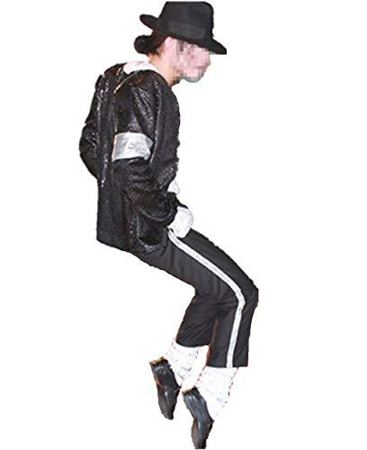 Shuanghao Cosplay Kostüm der Männer scherzt Michael Jackson Cosplay MJ Cos Kind Kostüm 5pcs MJ Billie Jeans Jacket + Pant + Socken + Glove + Hat (5 Stück Set) (W:41-45kg H:145-155cm)