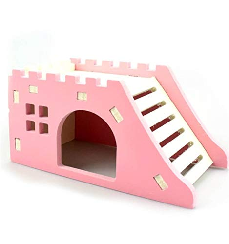 WeiCYN Holzleiter Pet Hedgehog Castle Toy 14.5 * 7 * 7cm Viewing Deck Pet House Hamster Nest Hamster Haus Haustier-Produkte (Color : Pink)