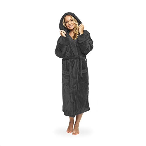 Lumaland Luxury Microfiber Bathrobe Hooded Soft Coral-Fleece for Men and Women Dressing Gown in Different Sizes and Colours | Grey XL
