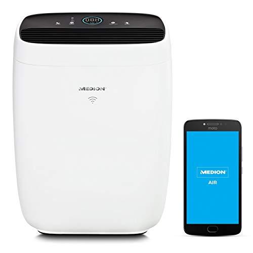 MEDION Luftreiniger mit App Steuerung (HEPA Filter, Smart, reduziert Aerosole Pollen Staub Tierhaare, bis zu 72 m², Luftqualitätsanzeige, Timerfunktion, Schlafmodus, MD 10378)