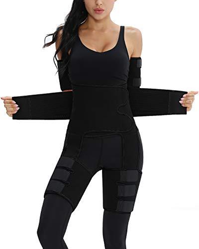 Elastic Thigh Trimmer Arm Sweat Bands For Women Thigh Eraser Butt Lifter Trainer 4 In 1(Black,4XL/5XL)