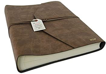 LEATHERKIND Personalised Viaggio Recycled Leather Photo Album Tan Large Classic Style Pages - Handmade in Italy