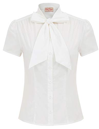 weiß Tops für Damen festlich Oberteil Sommer Bluse t-Shirt mit Schleife L BP819-1