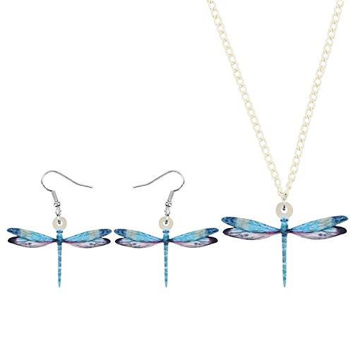 Collar Acrílico Lindo Sistemas De La Joyería De Insectos Animal Azul De La Libélula Regalos Pendientes For Las Mujeres Niñas Adolescentes Kids Party Collar De Accesorios Collares de Mujer Hyococ