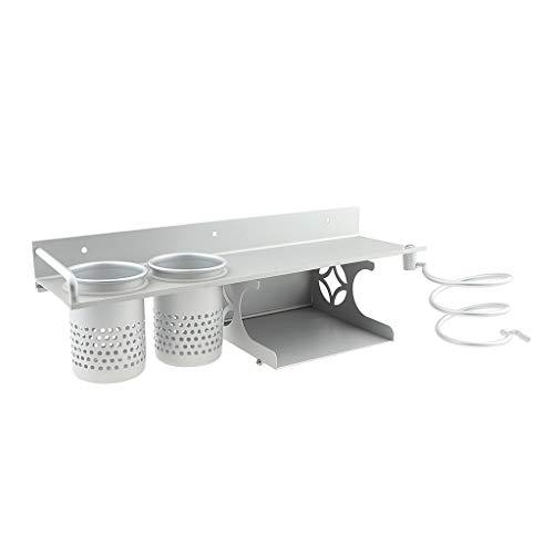 Homyl Porte Sèche Cheveux étagère avec Tasse Support Brosse à Dents Peigne En Aluminium Organisateur