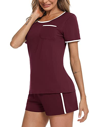 Doaraha Pijamas Cortos para Mujer Verano Pijama Corto de Algodón Suave con Bolsillos Ropa de Dormir Manga Corta Camiseta y Pantalones 2 Piezas (B# Vino Rojo, M)