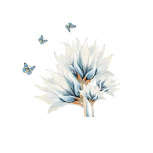 ZZLLFF Color Azul Mariposa Mariposa Pegatinas de Pared Flores Sala de Estar decoración sofá Fondo de Pared lávalos de Pared decoración Mural decoración del hogar