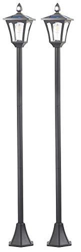Royal Gardineer Mastleuchte Solar: 2er-Set Solar-LED-Gartenlaternen, PIR-Sensor, Dämmerungssensor, 300 lm (LED Mastleuchten Solar)