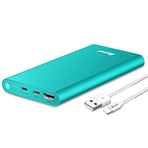 Portable Charger, BONAI Power Bank 12000mAh Aluminum(Travel)(Powerful) USB C High Speed 3.0A Input/Output Compatible iPhone Charger iPad iPod Samsung Android Tablet Mint(Charging Cable Included)