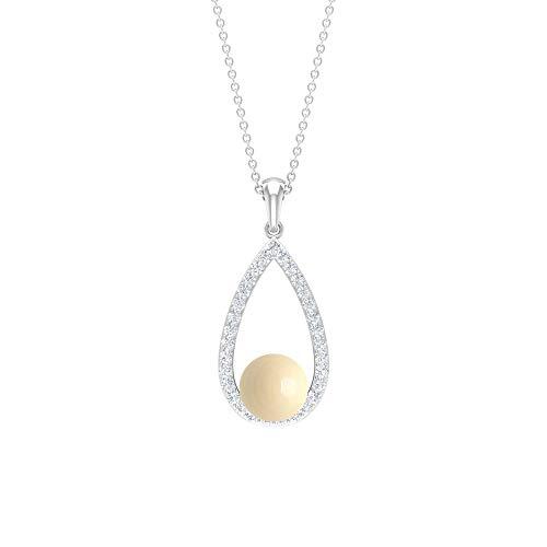 Colgante de perlas cultivadas japonesas de 4,36 quilates, collar de gota de perlas, collar de boda, colgante de aniversario, colgante de diamante para mujer, colgante de lágrima, Metal, Diamond,