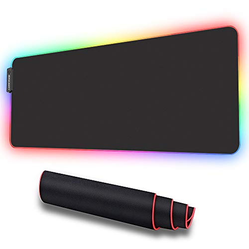 LUXCOMS RGB Soft Gaming Mouse Pad Large Oversized Glowing Led Extended Mousepad ,NonSlip Rubber Base Computer Keyboard Pad Mat,315X 118in