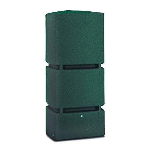 Regentonne eckig Regenwassertank Jumbo 800 Liter grün aus UV- und witterungsbeständigem Material. Frostsichere Regenwassertonne bzw. Regenfass Wandtank mit hochwertigen Messinganschlüssen