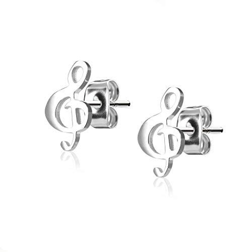 BlackAmazement, set di 2 orecchini in acciaio inox 316L, a forma di chiave di violino musicale, oro rosa, argento, da donna e Acciaio inossidabile, colore: argento
