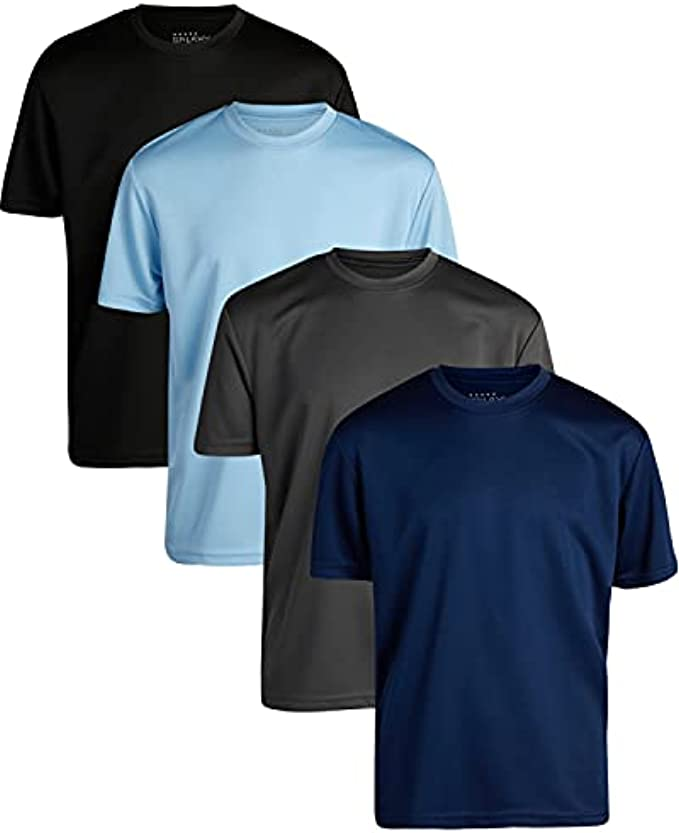 Galaxy by Harvic Boys' Active Shirt – 4 Pack Moisture Wicking Dry-Fit Jersey Top