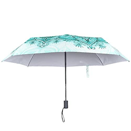 Paraguas de lluvia con cierre abierto automático, estilo étnico, resistente al viento, con un toque